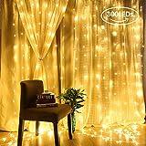AGM Rideaux Lumineux 300 LED 3m x 3m, Guirlande Lumineuse Alimenté USB, Fil de...