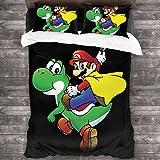 ZCMZMP Super Mario Bros - Juego de funda nórdica y funda de almohada para niños (1,155 x 220 cm + 50 x 75 cm x 2 cm)