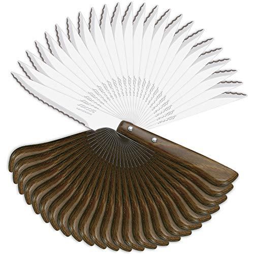 Juego cuchillos chuleteros 105mm acero inoxidable mango de madera (24 cuchillos mango de madera y hoja en acero inox)