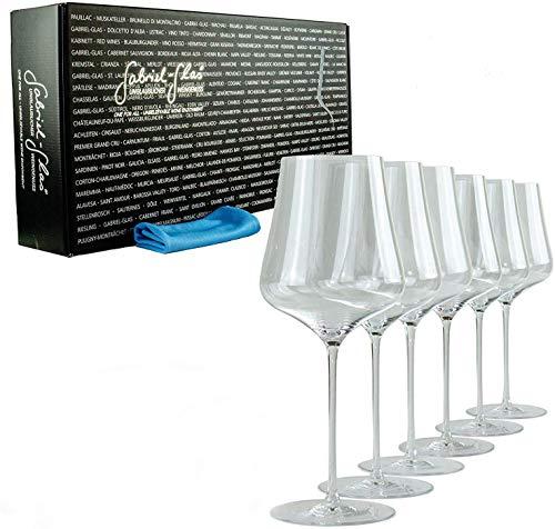 Gabriel-Glas Gold Edition - Juego de 6 Copas de Vino sopladas a Boca, 90 g, fáciles de Lavar en lavavajillas, paño de Pulido, 40 x 40 cm