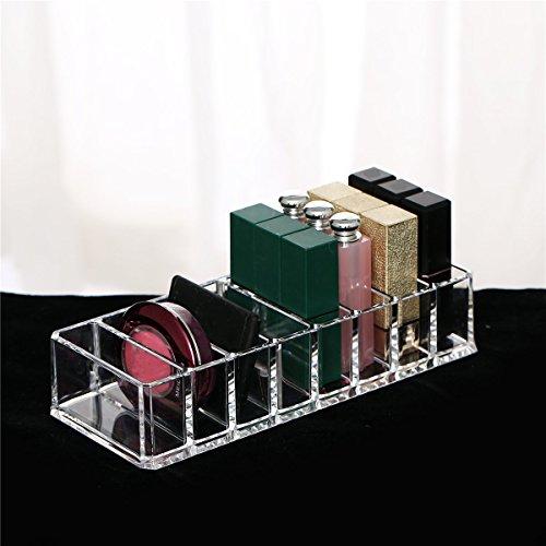 Bureze 8 Slot Acrylique Transparent Compact Mallette de maquillage Organiseur