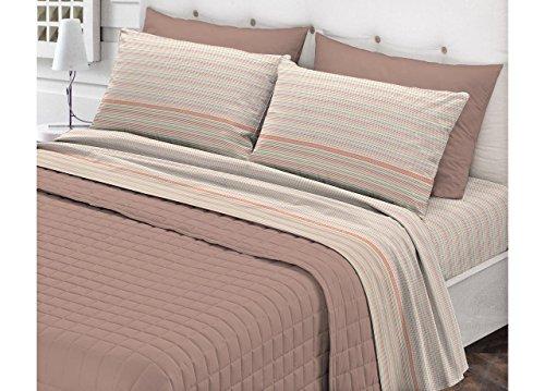 Captain CASA Set Complet Parure de lit en Flanelle Douce modèle Fly Dessin sauf 1 Piazza Singolo Beige