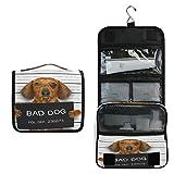 Alarge - Bolsa de aseo para colgar con diseño de animales malos para perros, bolsa de gárgaras grande portátil de viaje, neceser organizador de maquillaje para mujeres y hombres