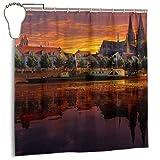 N/A Fashion Duschvorhang, wasserdicht, 152,4 x 182,9 cm, Regensburg Deutschland, Sonnenuntergang, Stadtbild, Sonnenuntergang, Reflexion