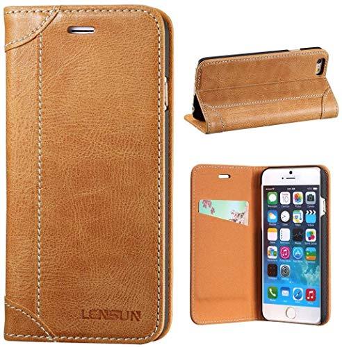 LENSUN iPhone 6 Hülle iPhone 6s Hülle, Handyhülle Handytasche iPhone 6 / 6s (4.7 Zoll) Leder Huelle Tasche Flip Case Ledertasche Schutzhülle - Braun (6G-DX-BN)