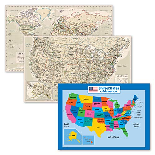 3 Pack - Antique Style World & USA Map Poster Set + USA Map Chart for Kids (Laminated, 18' x 29')
