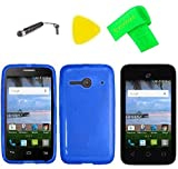 TPU Flexible Skin Cover Case Cell Phone Accessory + Screen Protector + Extreme Band + Stylus Pen + Pry Tool for Alcatel Onetouch A464BG (TPU Blue)