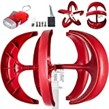 Happybuy Wind Turbine 600W 12V Wind Turbine Generator Red Lantern Vertical Wind Generator 5 Leaves Wind Turbine Kit with Controller No Pole