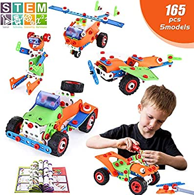 LUKAT STEM Toys, 165 Piece Learning Toys, Educational Construction Engineering Building Toys Set Gift for Ages 5 6 7 8 9+ Year Old Boys & Girls