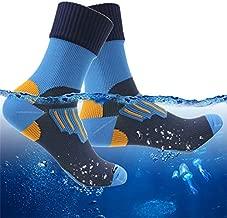 RANDY SUN Waterproof Socks for Fishing, Men's Stylish Hiking Camping Backing Ankle Crew Socks 1 Pair (Blue,Small)