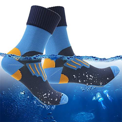 100% Waterproof Outdoor Socks, RANDY SUN Men's Stylish Hiking Camping Backing Ankle Crew Socks 1 Pair (Blue,Medium)