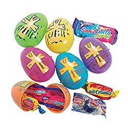 Candy Filled Bright Religious Print Eggs