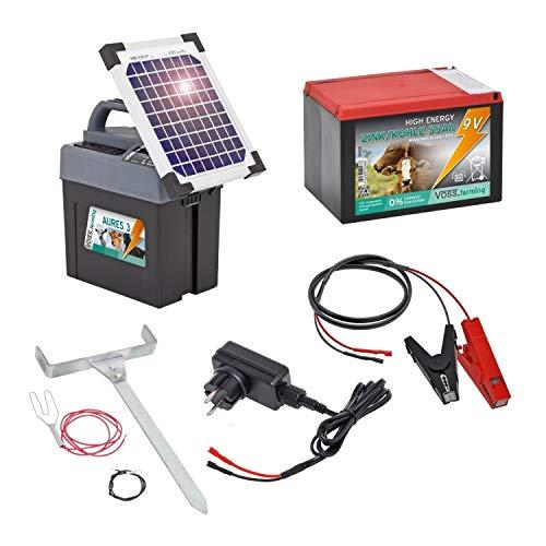 VOSS.farming Aures 3 Solarset Komplettset Weidezaungerät inkl. Solar, 9V 12V Anschluss sowie Batterie und Zubehör für Ihren Elektrozaun, Weidezaun