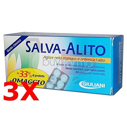 3X SALVA ALITO GIULIANI DA 40 CPR - 120 Compresse Masticabili Gusto Classico - ALITO FRESCO