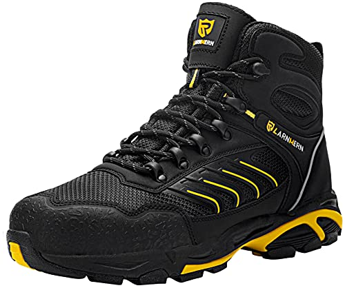 LARNMERN PLUS Zapatos de Seguridad Hombre S1P Botas de Seguridad Respirable Ligero Comodo SRC Antideslizante Antiestático Calzado de Seguridad Trabajo Zapatillas Seguridad(Negro Amarillo,42.5EU)