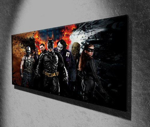 Von Canvas35Batman Zeichen Panorama Film 127x 50,8cm groß Kunstdruck Bild Poster, aufhängfertig, Leinwand, Mehrfarbig, 127x 50x 4cm