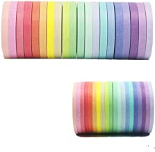 Washi Tape Set 40 Rolls Masking Tape Pack Colorful Decorative Thin Tapes Fit DIY Scrapbooking Crafts Gift Wrapping Tapes(5MM and 3MM Wide)