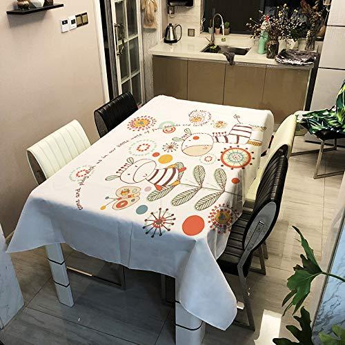 ZHENQI Tischdecke aus der Cartoon-Serie, Tischdecke mit Digitaldruck, wasserdichte Antifouling-Tischdecke aus Polyester, stilvoll und schlicht ZB3032-3 140x180cm