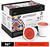 Bestpresso Coffee, Colombian Single Serve K-Cup, 96 Count (Compatible With 2.0 Keurig Brewers) 8 Packs Of 12 Cups
