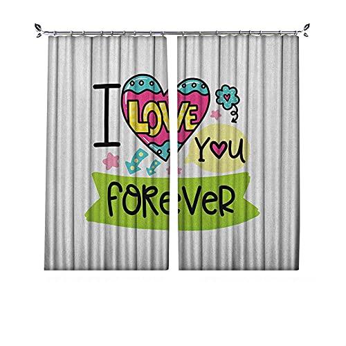 90% cortinas opacas románticas, frase temática 'I Love Your Forever Valentines Day con elementos de diseño infantiles, cortinas plisadas para dormitorio, sala de estar, 172 x 163 cm, multicolor