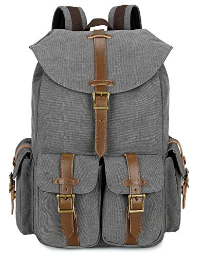 BLUBOON Canvas Laptop School Backpack Vintage Casual Bookbag Leather 15.6 Inch Travel College Rucksack Durable Computer Bag Grey