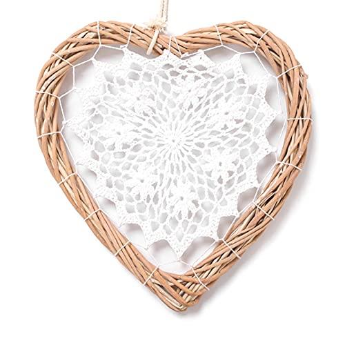 Laoonl - Ghirlanda di vimini a forma di cuore, in rattan, decorazione da appendere alla parete per matrimoni, feste di compleanno