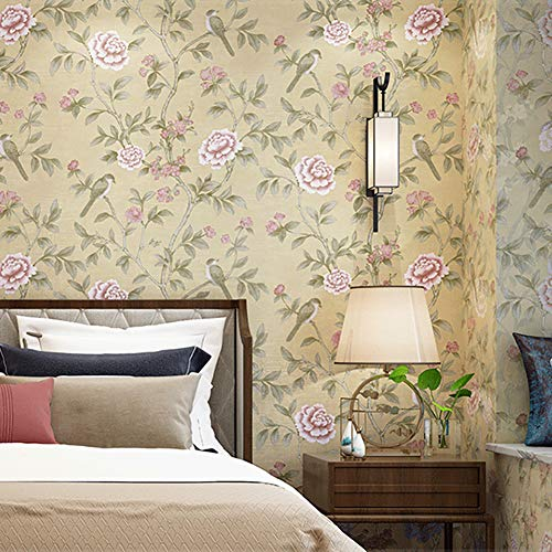 TY&WJ Chinesischer Stil Landschaft Blumenvögel Tapete,Vintage Chinoiserie Floral Mauer Wandbilder,Wohnzimmer Tv-Hintergrund Deko Kontaktpapier Gelb 21x394inch