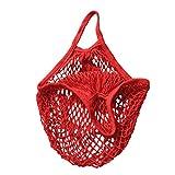 Bolsa de la compra, bolsa de red, saco para patatas, de algodón orgánico, varios colores, rojo, talla única