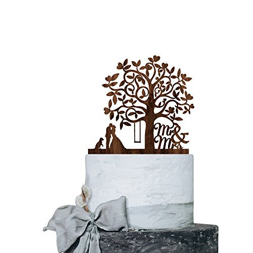 Love Tree Bride Groom with Dog Wedding Cake Toppers Rustic Wood Decoration Keepsake Engagement Favors for Special Event Walnut Wood