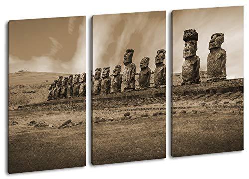 deyoli Steinköpfe auf den Osterinseln Format: 3-teilig 120x80 Effekt: Sepia als Leinwandbild, Motiv fertig gerahmt auf Echtholzrahmen, Hochwertiger Digitaldruck mit Rahmen, Kein Poster oder Plakat
