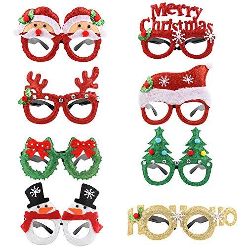 Xinzistar - 8 pares de gafas de Navidad, gafas divertidas, gafas divertidas, gafas de Navidad, decoración de Navidad, con purpurina, juego de decoración