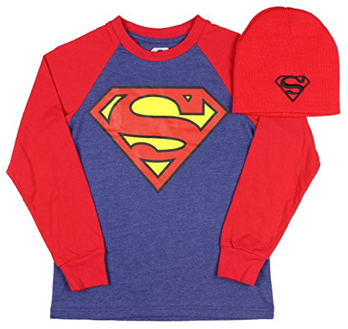 Superman Man of Steel Boys Long Sleeve Graphic Shirt with Red Beanie,Blue,X-Large 14/16