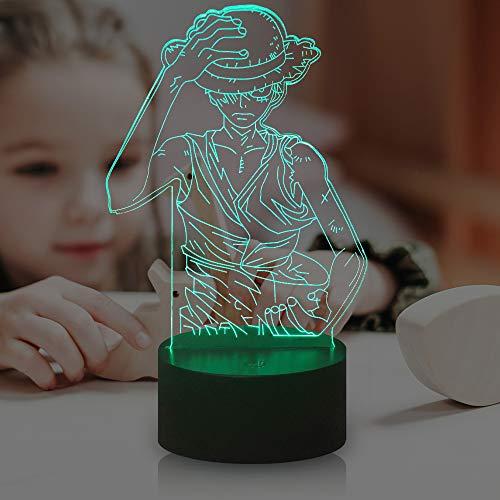 Veilleuse Luffy à thème One Piece pour enfants,7 couleurs USB Télécommande Décor de fête Les enfants dorment la lampe de chevet,Lampe de table Cadeaux de Noël pour enfants (Luffy)