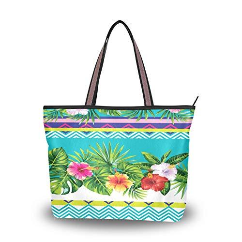 NaiiaN Monedero Bolsos de compras Hojas tropicales Flores para madres Mujeres Niñas Señoras Bolso de mano para estudiantes Bolsos de hombro Correa liviana