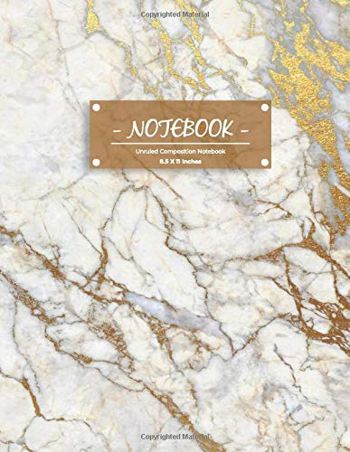 Notebook: Golden Unruled Composition Notebook, White Gold Inlay Marble Blank Composition Notebook, Journal, Diary (8.5 x 11 inches)