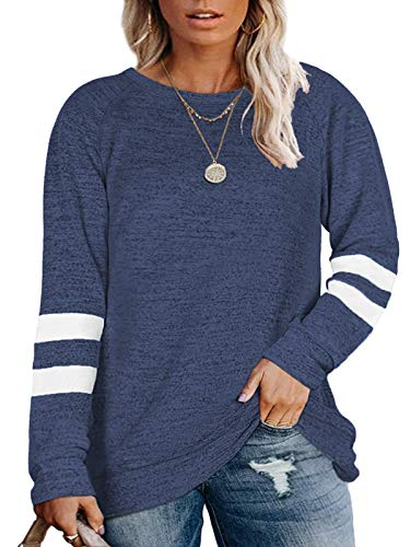 Plus Size Sweater for Women 4X Oversized Pullover Shirts Navy Blue-28W