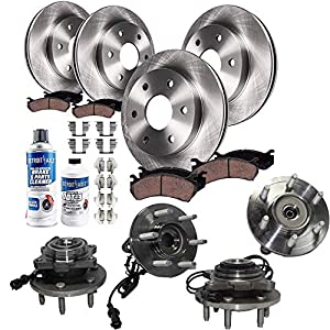 Detroit Axle - 4WD Front & Rear Brake Rotors + Pads + Wheel Bearings & Hub Assemblies Replacement for 2003-2006 Ford Expedition Lincoln Navigator