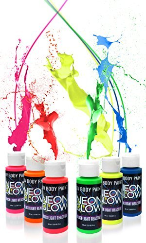 Neon Glow Blacklight Body Paint #1 Premium Set (6 pack of 2 oz. bottles) Glows Brighter, UV Reactive- Safe and Non-Toxic! Fluorescent Set Dries Quickly, Goes on Smooth, Not Clumpy