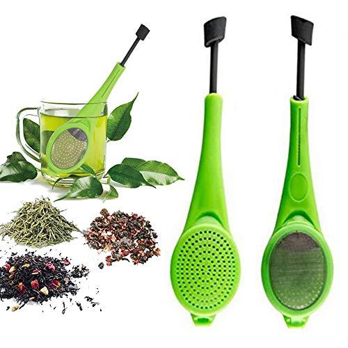 THETAG Teefilte, Teesieb für Losen Tee Tee-Ei aus Food-Grade Silicone Silikon und Beweglichem Griff in Bechern Oder Tassen (Grün)