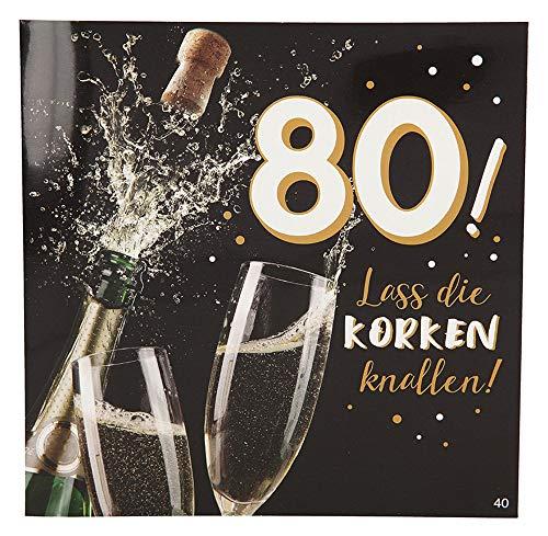 Depesche 3868.040 Glückwunschkarte mit Musik, 80. Geburtstag, Mehrfarbig