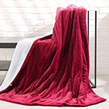 MaxKare Electric Blanket Heated Throw Flannel & Sherpa Reversible Fast Heating Blanket 50