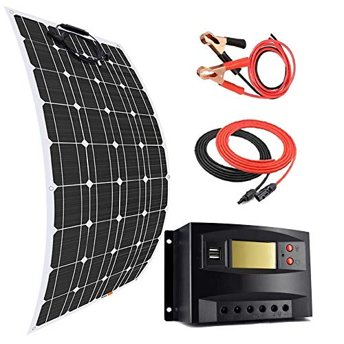 DSHUJC 100 Watt 12V Flexible Monocrystalline Solar Panel Kit Battery Charger with 20A Charge Controller,Battery Cable,for Car Boats Marine Off Grid System