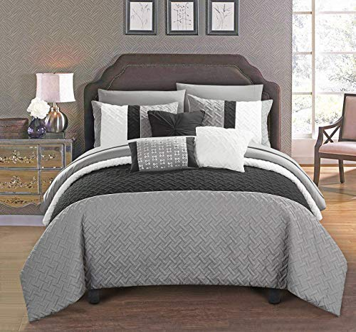 Chic Home Osnat 10 Piece Comforter Set Color Block Quilted Embroidered Design Bed in a Bag Bedding - Sheets Decorative Pillows Shams Included Queen Grey