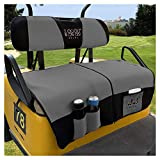 10L0L Golf Cart Seat Cover Blanket Sets with Storage Bags Fit for EZGO TXT RXV & Club Car DS, Warm Bench Seat Blanket + Back-up Cover Washable Polyester Mesh Cloth Gray Black Red - Small