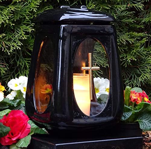 ♥ Grablampe Keramik 28,0cm Glas Kreuz mit Grabkerze Grablicht GRABSCHMUCK GRABLEUCHTE Laterne Lampe LICHT Kerze Produktname
