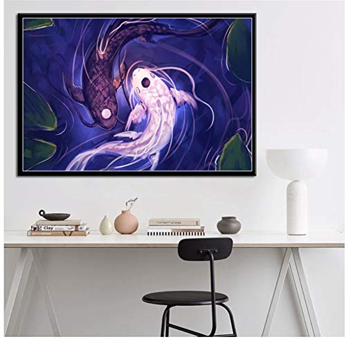 sjkkad Avatar The Last Airbender Yin Yang Koi Fish Anime Hot Art Painting Canvas Poster Wall Home Decor Print On Canvas-24X32 in No Frame