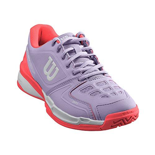 WILSON WILSON Damen Rush Comp W Tennisschuhe, Lila/Koralle (Pastel Lilac/Fiery Coral/White), 40 1/3 EU