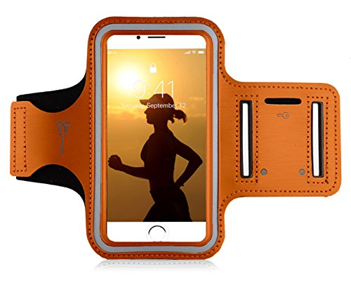 "MyGadget Sportarmband Hülle - Jogging Case Armband für 5.1"" Display Fitness Sport Armtasche für u.a. Apple iPhone XR 8 7 6, Samsung Galaxy S7 - Orange"