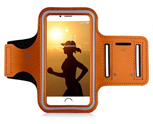 "MyGadget Handy Sportarmband - Jogging Case Running Armband für 5.1\"" Display Fitness Sport für u.a. Apple iPhone 8 7 6, Samsung Galaxy S7 - Orange"