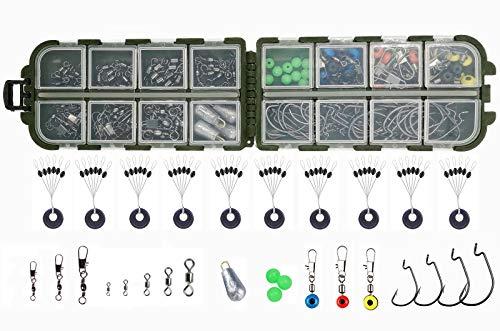 Drchoer 214 piezas Kit de accesorios de pesca, ganchos Jig, anzuelos de pesca, anzuelos giratorios, pesos de pesca, pesas de pesca, diapositivas Sinker, perlas, parada de tapón, terminales de pesca con caja de aparejos